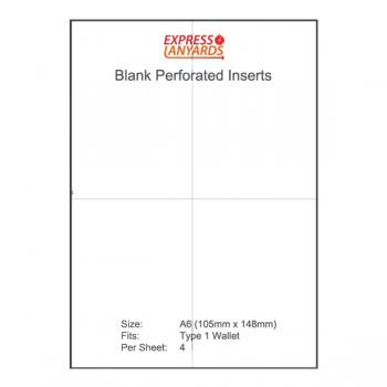 A6 Blank Perforated Inserts Type 1 - A4 Sheet of 4 Inserts