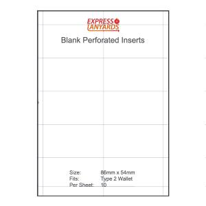 Blank Perforated Insert Type 2 - A4 Sheet of 10 Inserts