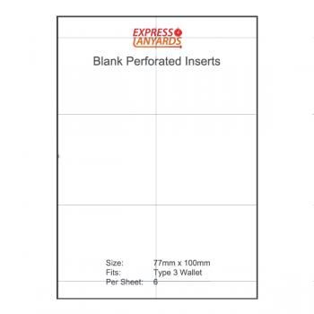 Blank Perforated Insert Type 3 - A4 Sheet of 6 Inserts