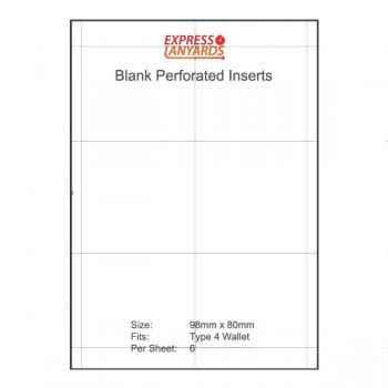 Blank Perforated Insert Type 4 - A4 Sheet of 6 Inserts