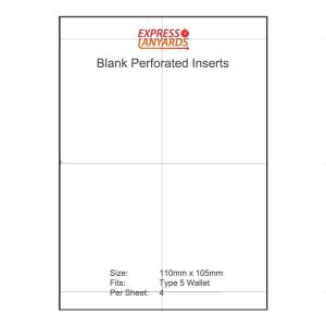 Blank Perforated Insert Type 5 - A4 Sheet of 4 Inserts