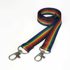 8 Stripe Double Clip Rainbow Lanyard - Pack of 10